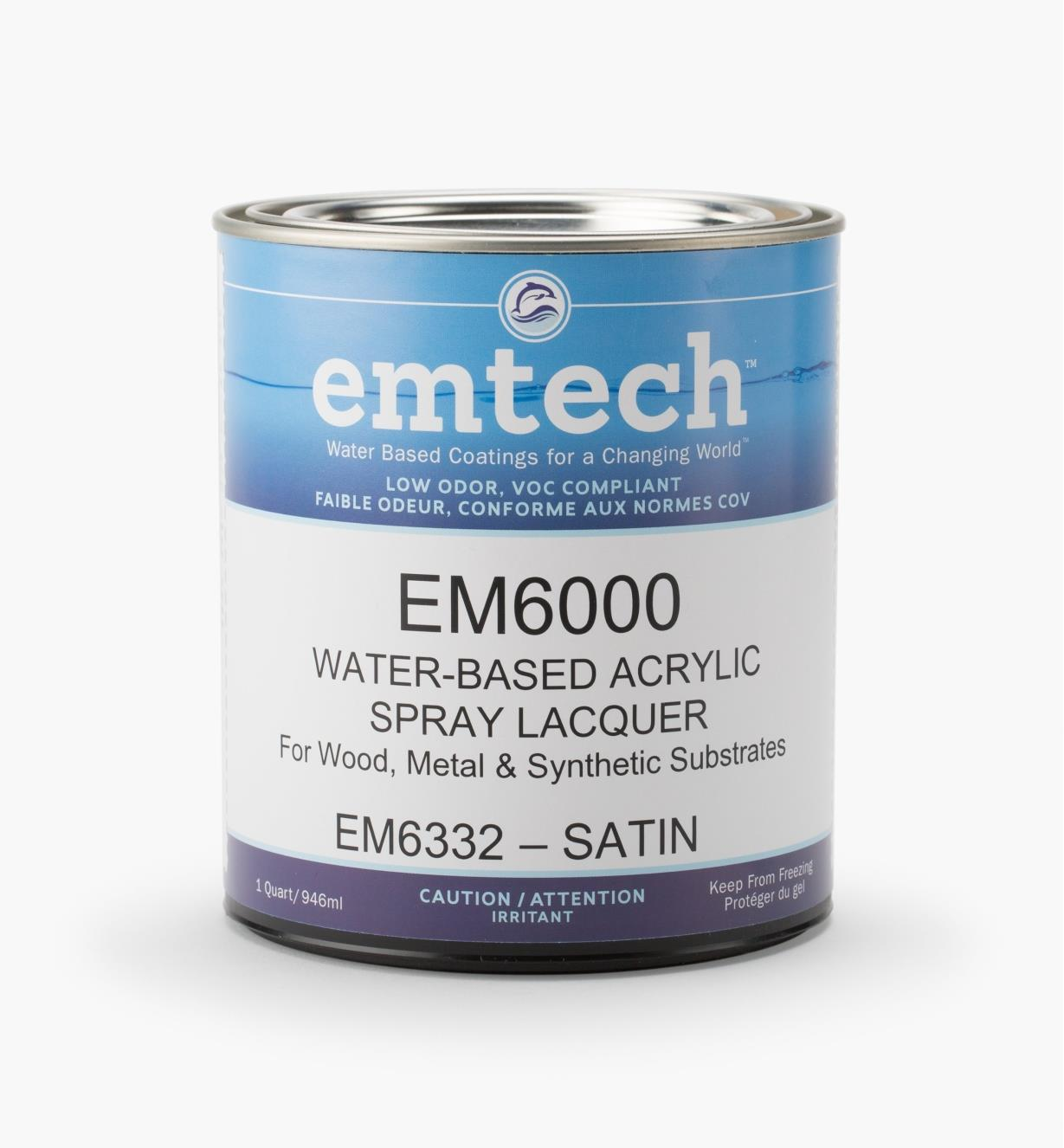 56Z1916 - Emtech Water-Based Satin Lacquer, Quart