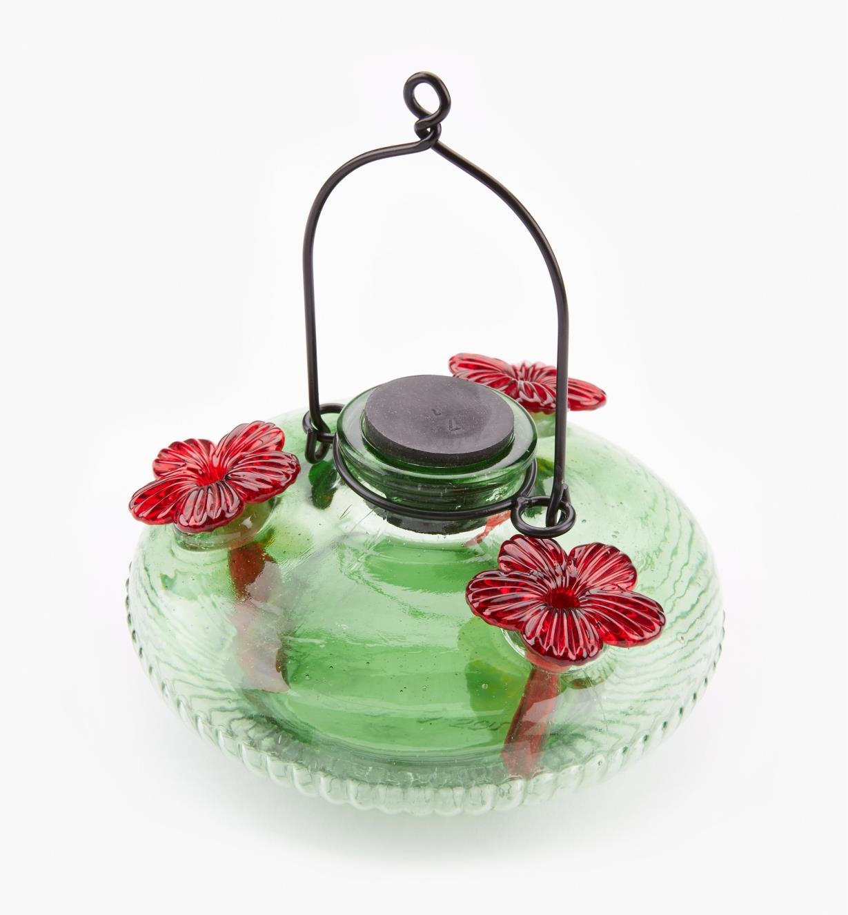 AG165 - Hand-Blown Glass Hummingbird Feeder, Green