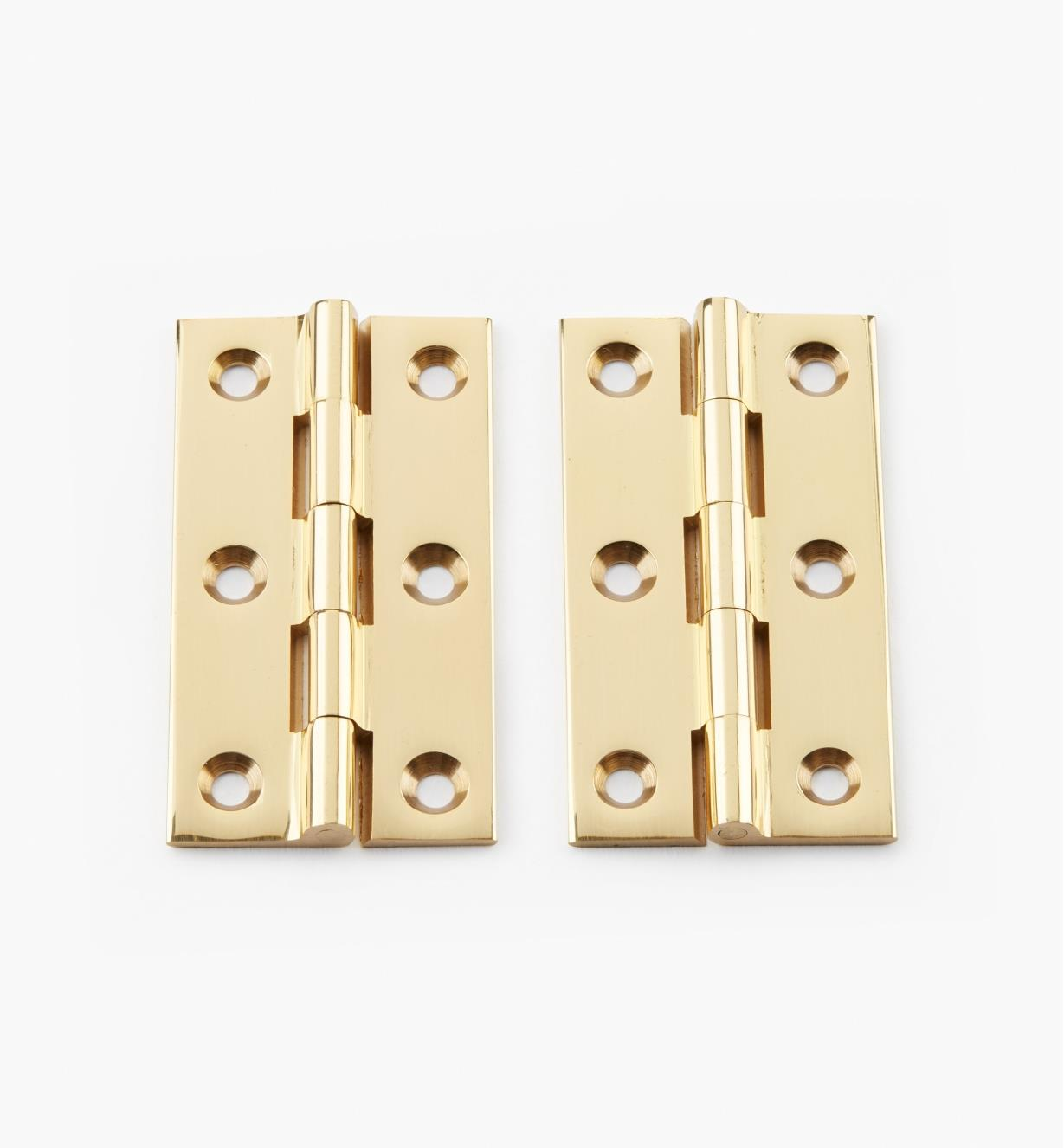 "00D0201 - 2"" × 1 1/8"" Extruded Brass Fixed-Pin Butt Hinges, pr."