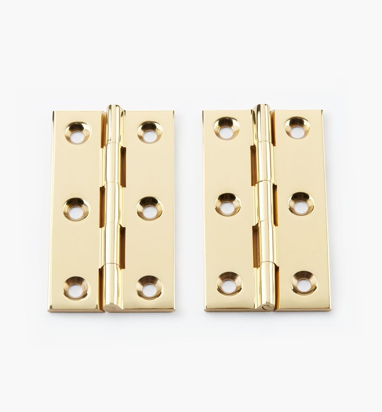 "00D0203 - 2 1/2"" × 1 3/8"" Extruded Brass Fixed-Pin Butt Hinges, pr."