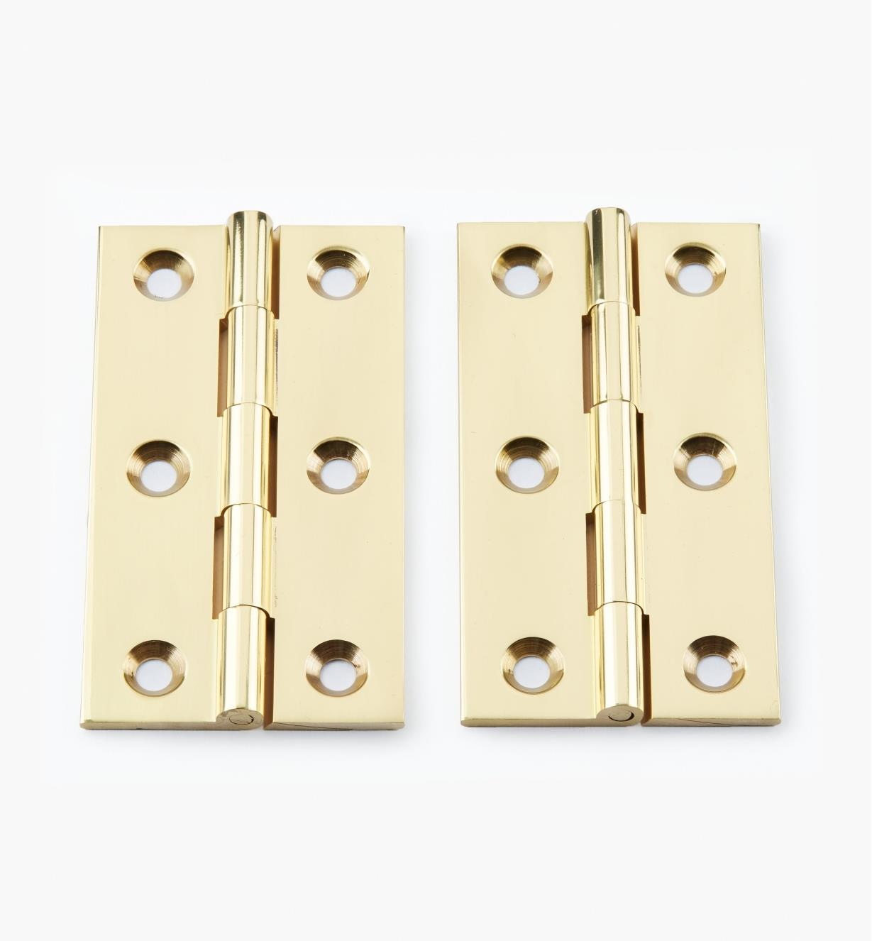 "00D0204 - 3"" × 1 11/16"" Extruded Brass Fixed-Pin Butt Hinges, pr."