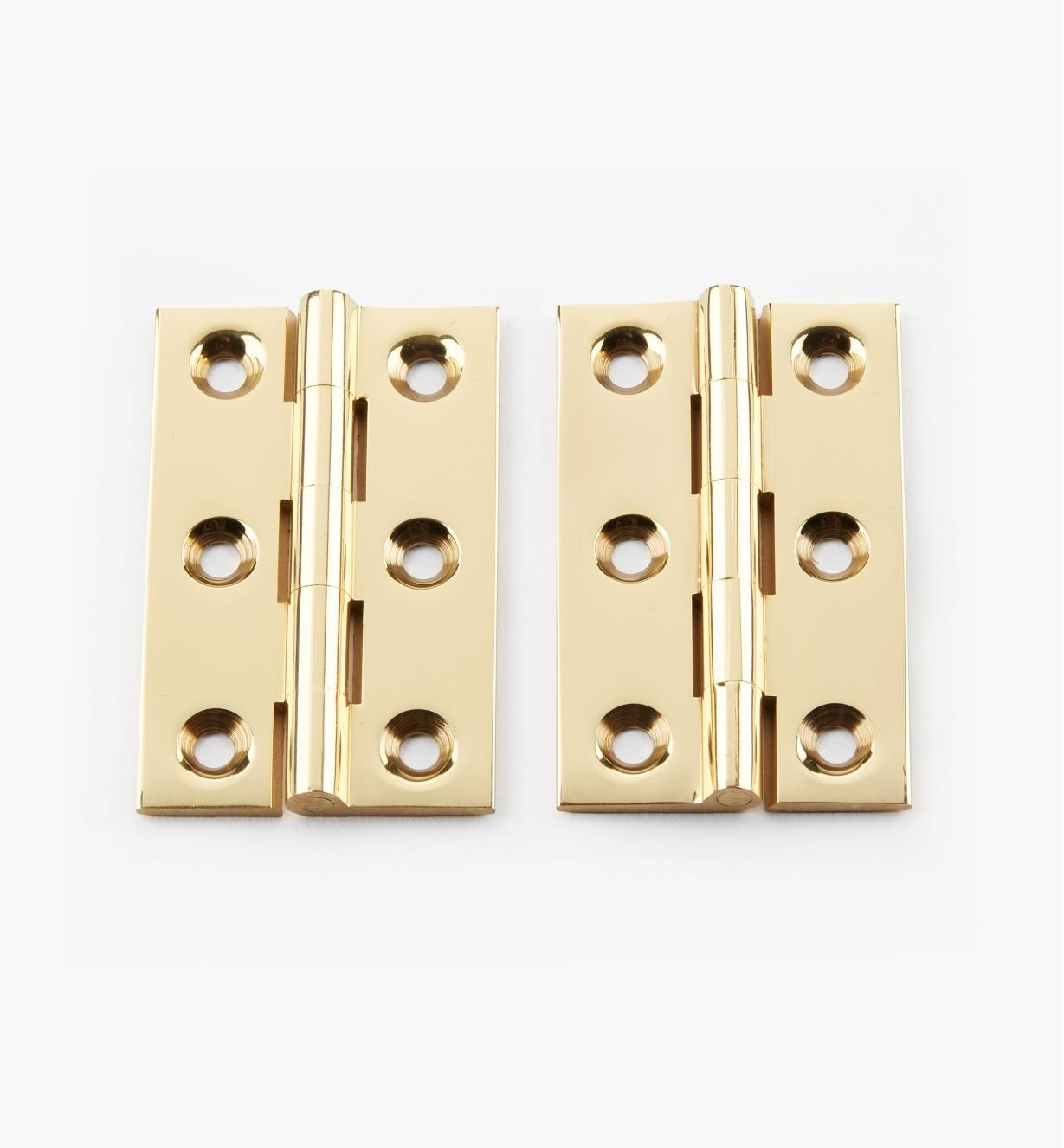 "00D0302 - 2"" × 1 1/4"" Extruded Brass Fixed-Pin Butt Hinges, pr."