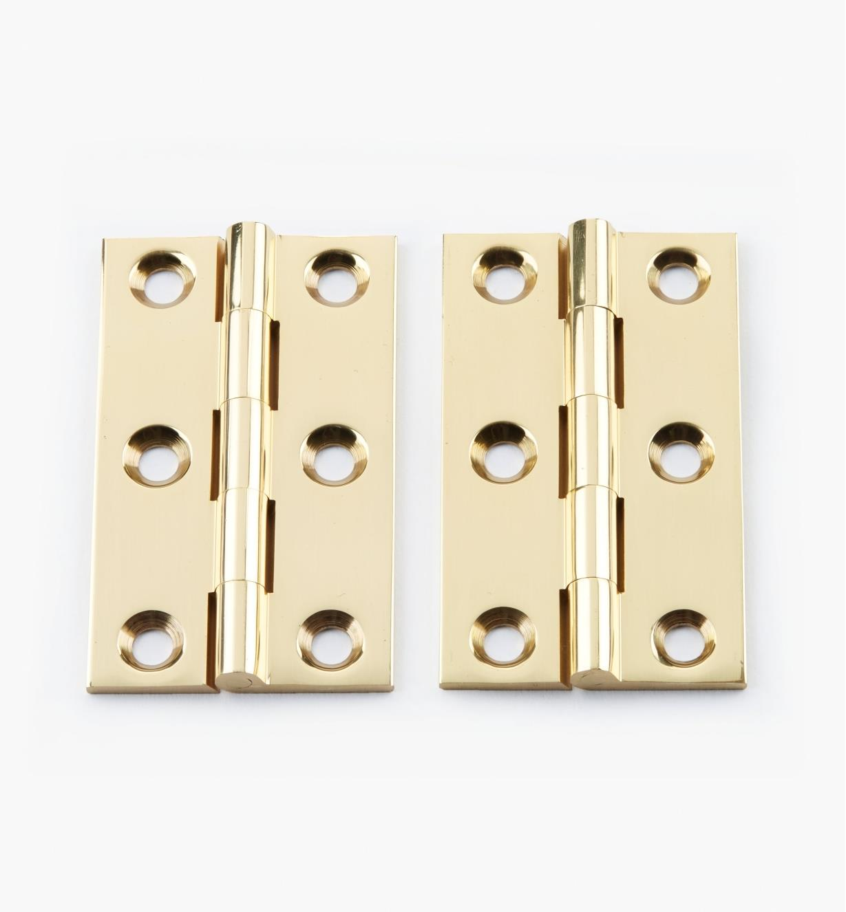 "00D0303 - 2 1/2"" × 1 1/2"" Extruded Brass Fixed-Pin Butt Hinges, pr."