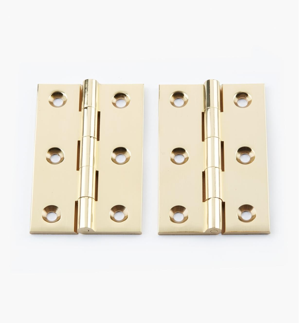 "00D0304 - 3"" × 2"" Extruded Brass Fixed-Pin Butt Hinges, pr."