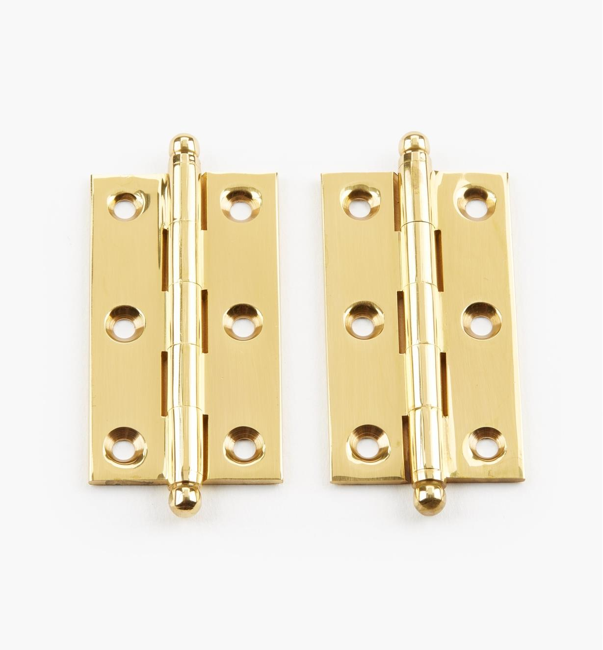 "00D0601 - 2"" x 1 1/8"" Extruded BrassFast-Pin Ball-Tip Hinges, pr."