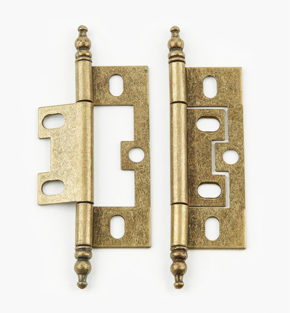 "02H1112 - 2 1/2"" x 3/4""Antique Brass Finial No-Mortise Hinges, pr."