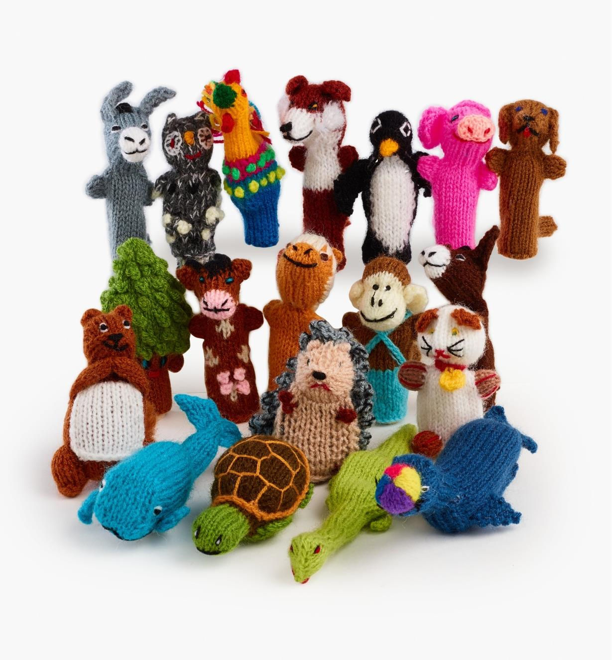 A variety of animal finger puppets