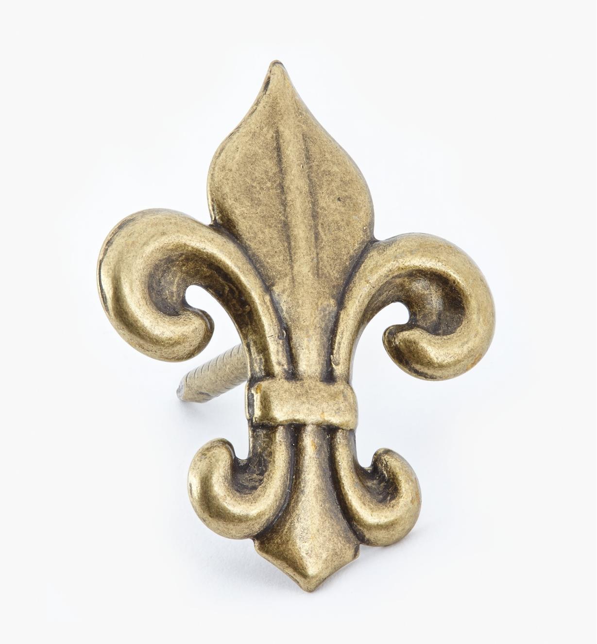 """00T0937 - Fleur-de-Lis Clavos, 1 3/4"""" x 7/8"""", Antique Brass, ea."""