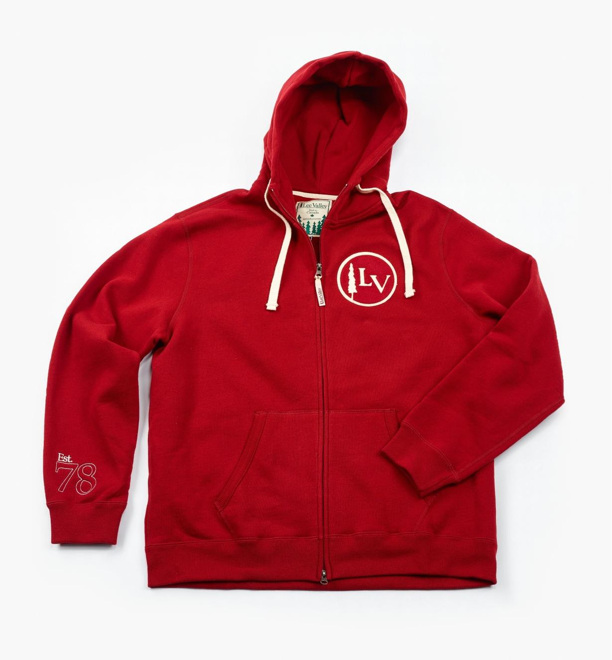 "67K6763 - Large (43""-45"") Red Lee Valley Zippered Hooded Sweatshirt"