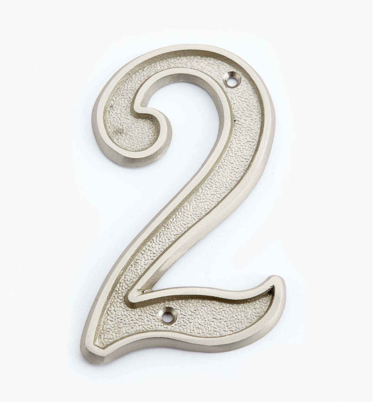 "00W0522 - 5"" Italic Satin Nickel Number - 2"