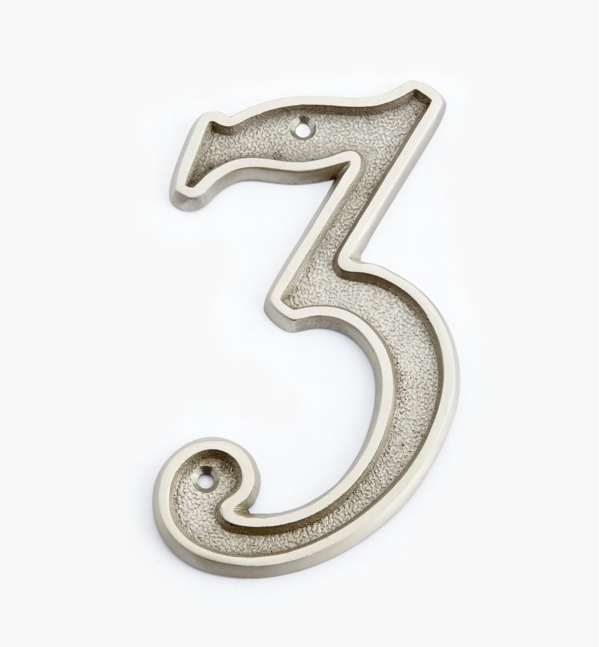 "00W0523 - 5"" Italic Satin Nickel Number - 3"
