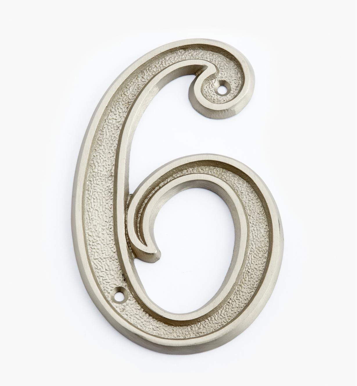 "00W0526 - 5"" Italic Satin Nickel Number - 6"
