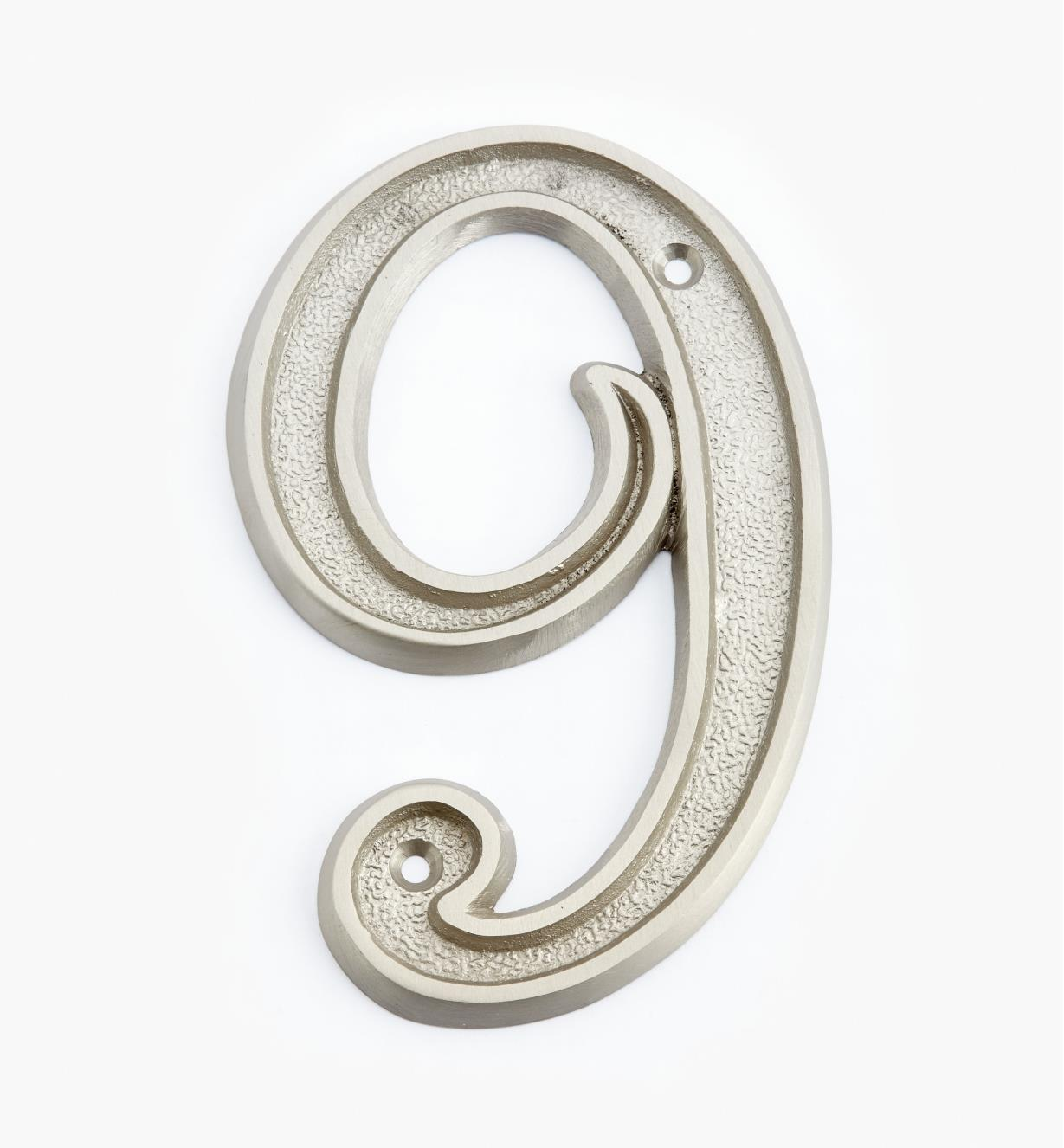 "00W0529 - 5"" Italic Satin Nickel Number - 9"