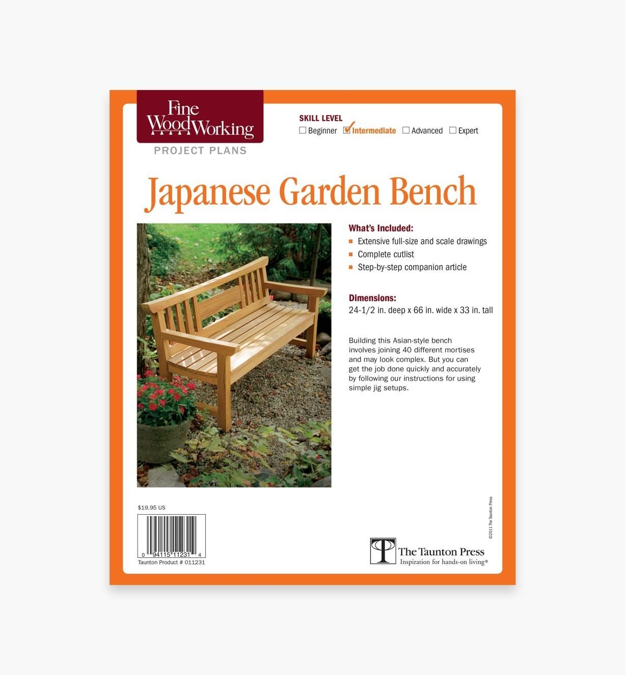 73L2508 - Japanese Garden Bench Plan