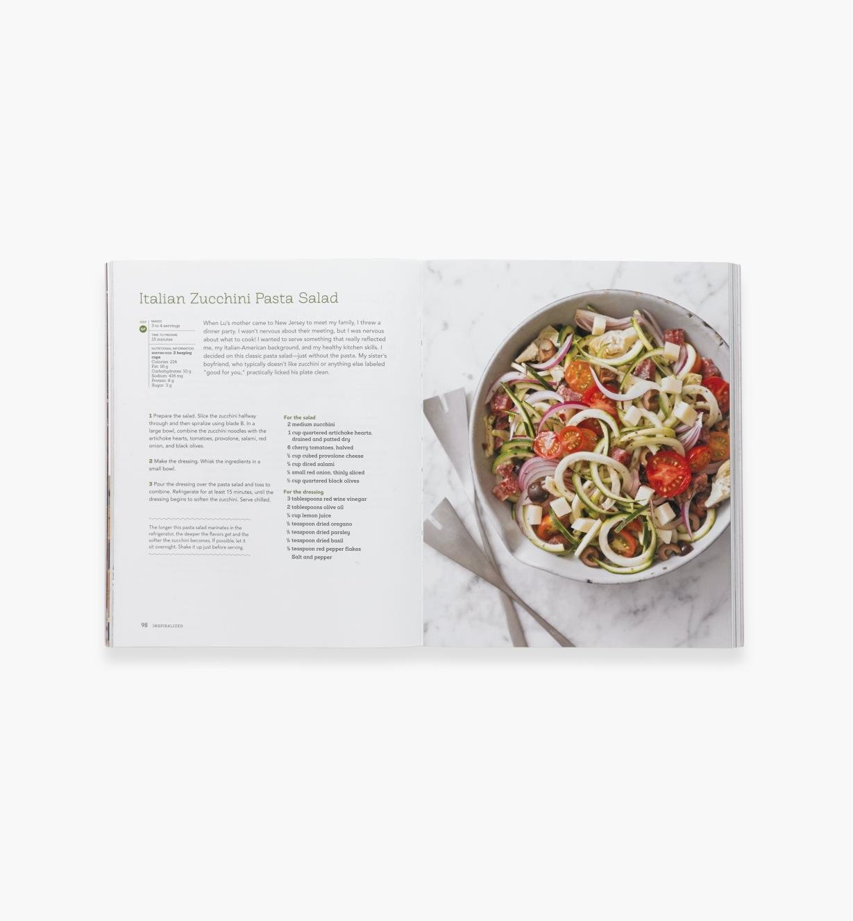 Open spread of Inspiralized showing recipe for Italian zucchini pasta salad