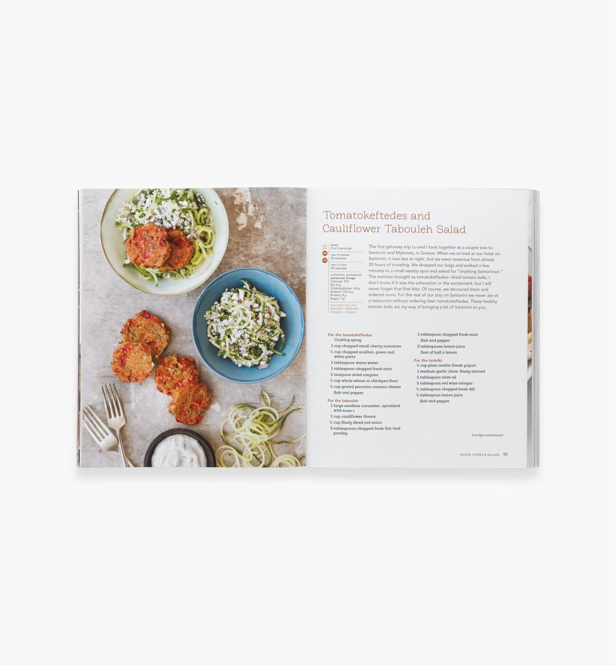 Open spread of Inspiralized showing recipe for tomatokeftedes and cauliflower tabuleh salad