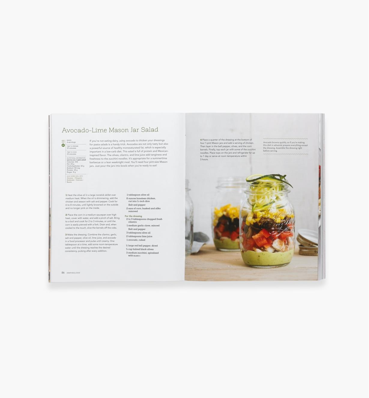 Open spread of Inspiralized showing recipe for avocado-lime mason jar salad