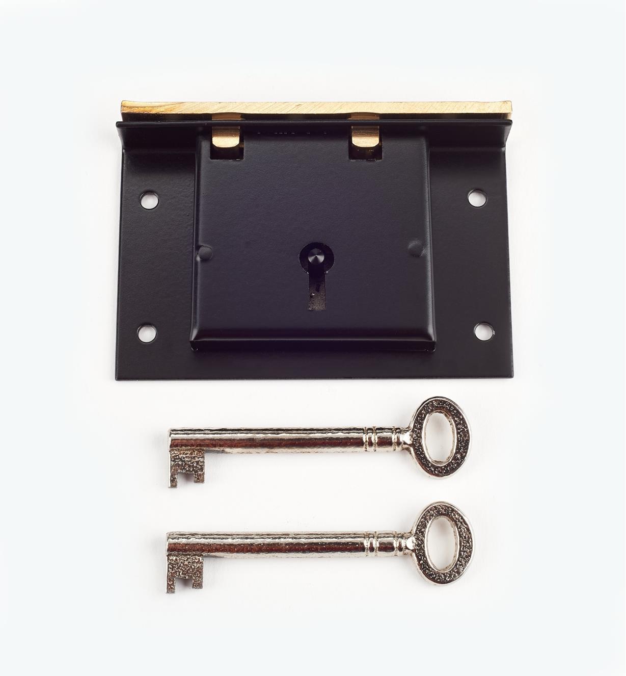 "00P3635 - 3 1/2""  Japanned Steel Chest Lock"