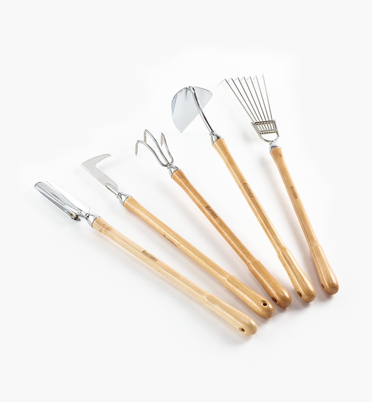 AB674 - Jeu complet de 5 outils de jardinage à manche mi-long Lee Valley