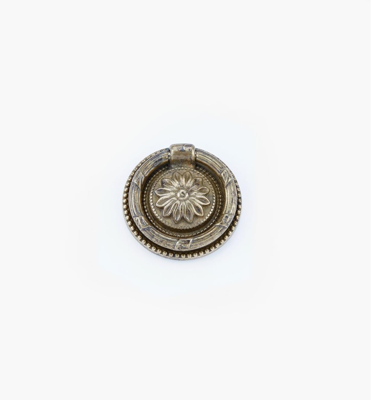 01A7447 - Poignée à anneau Louis XVI, laiton ancien, 47mm