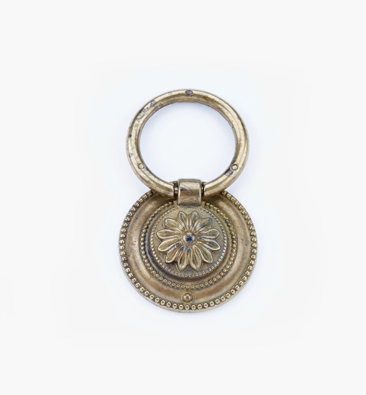 01A7456 - Poignée à anneau Louis XVI, laiton ancien, 56mm