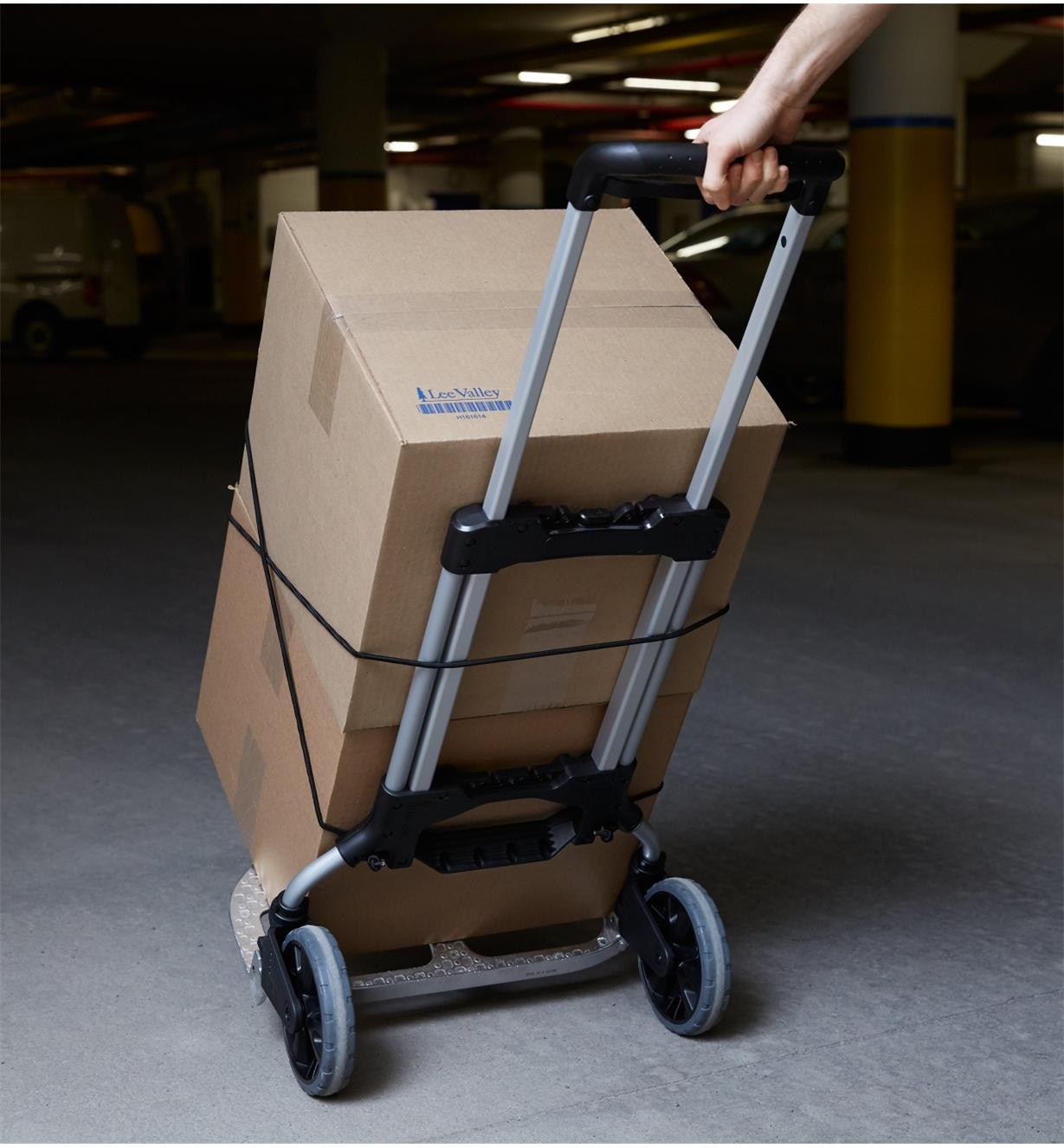 Using the Folding Hand Truck to move cardboard boxes