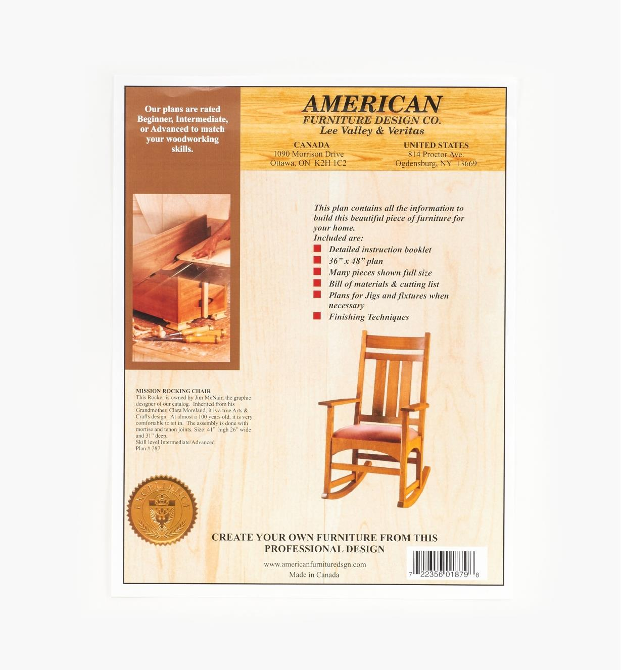 01L5007 - Mission Rocking Chair Plan