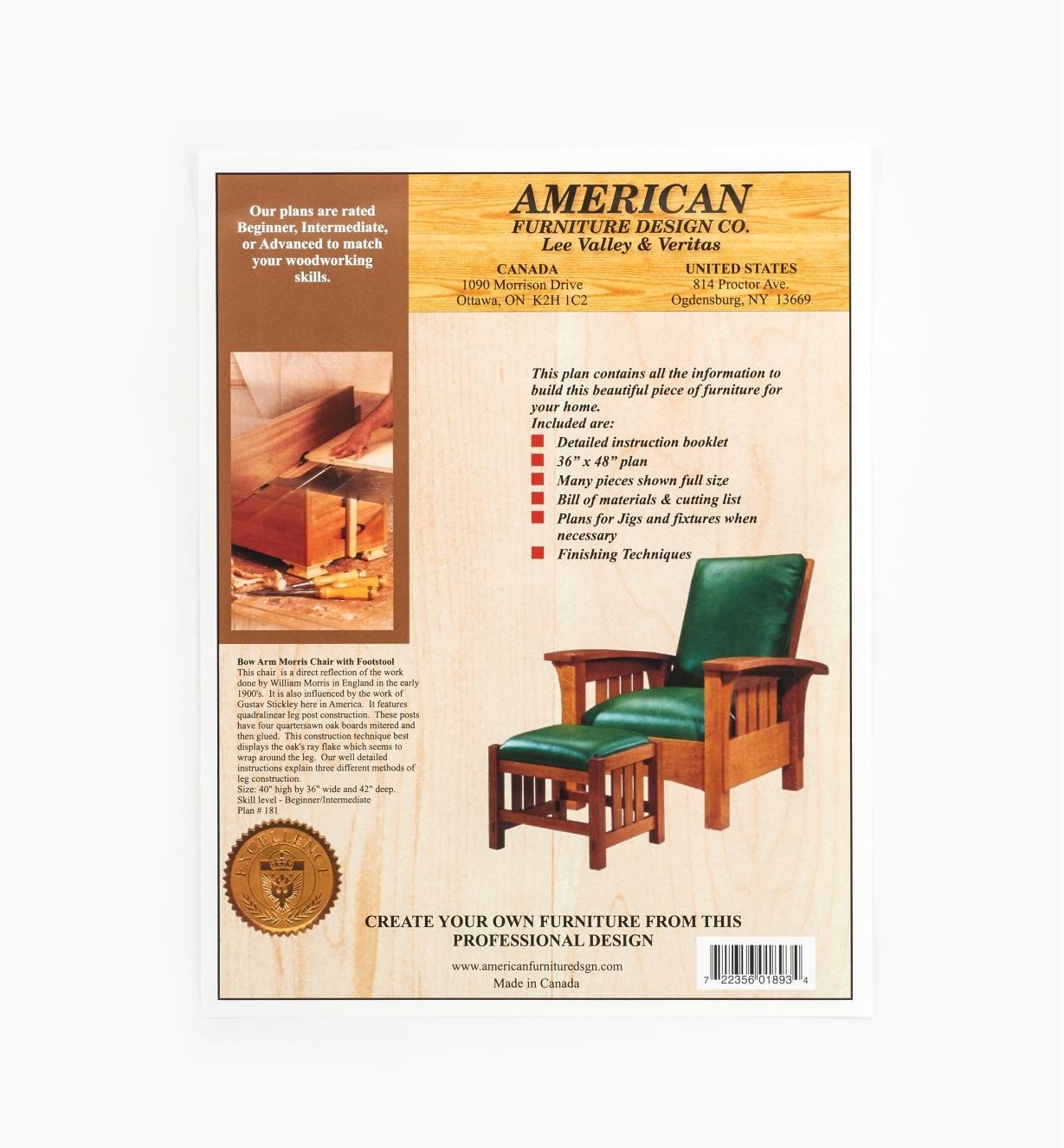 01L5022 - Bow Arm Morris Chair & Footstool Plan