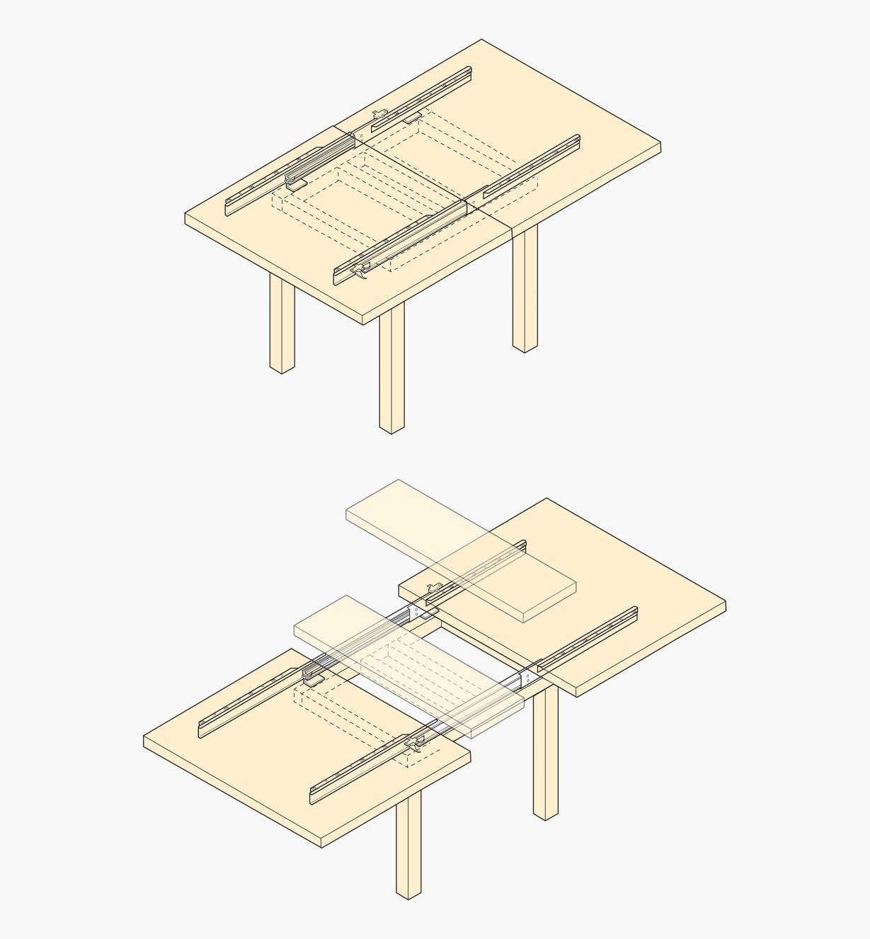 Bottom-Mount Table Slides