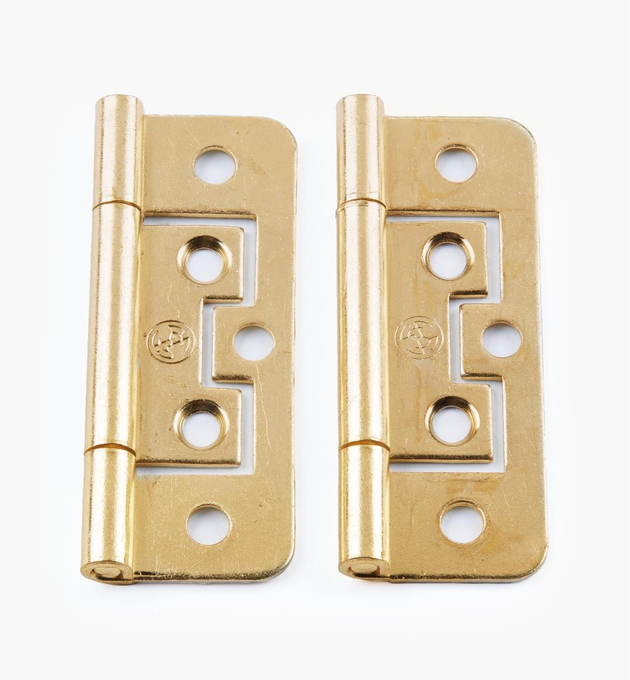"00H5113 - 2 1/2"" × 3/4"" Brass Plate Plain-End No-Mortise Hinges, pr."