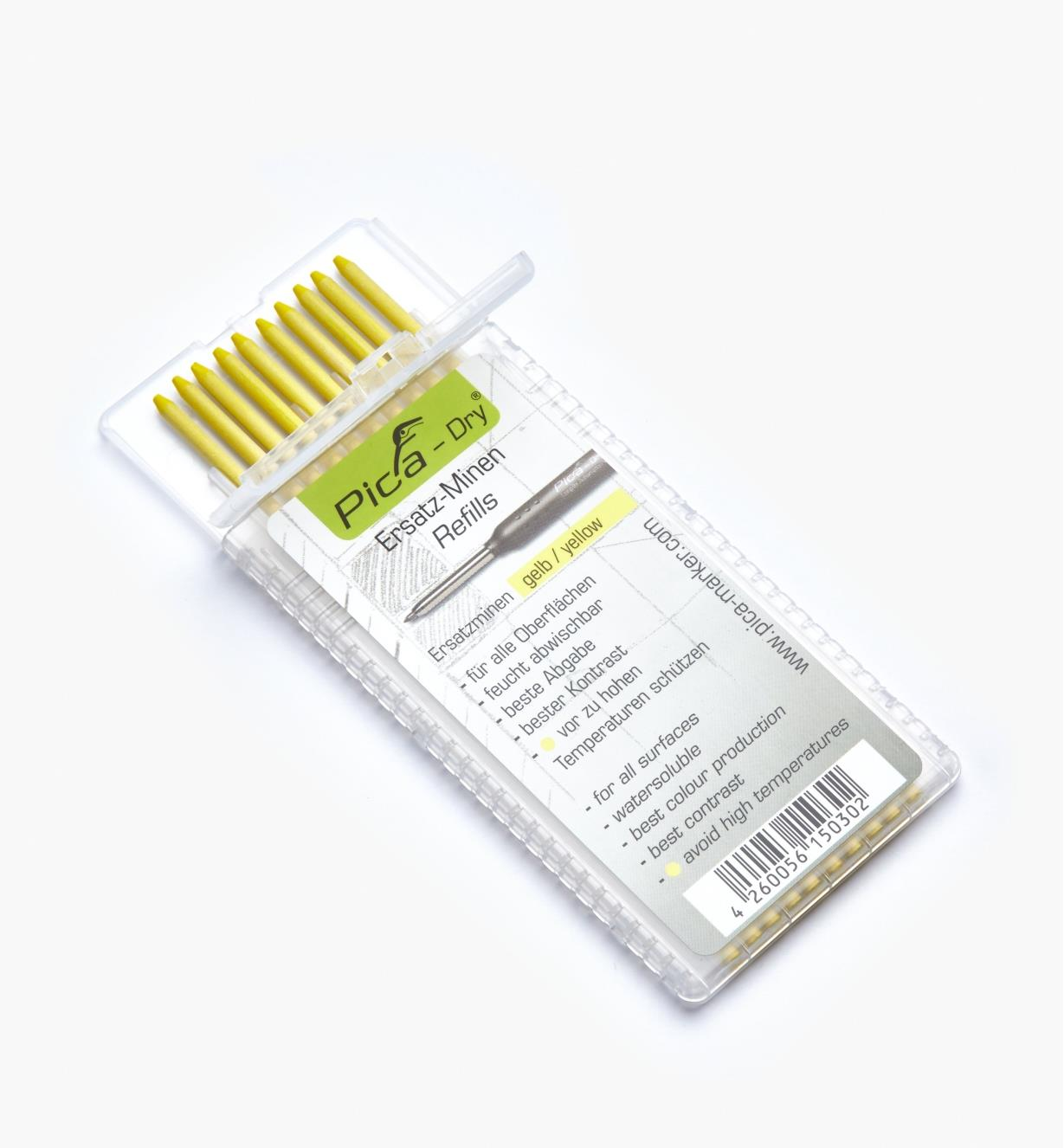 25K0412 - Pica-Dry Yellow Water-Soluble 2B Leads, pkg. of 10