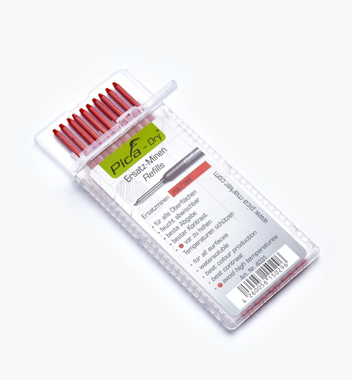 25K0413 - Pica-Dry Red Water-Soluble 2B Leads, pkg. of 10