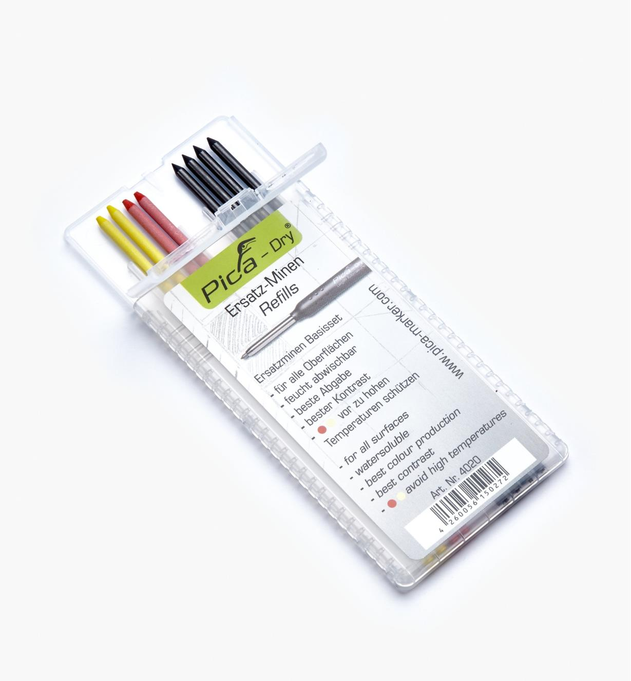 25K0415 - Set of 8 Pica-Dry Water-Soluble 2B Leads (4 Black, 2 Yellow, 2 Red)