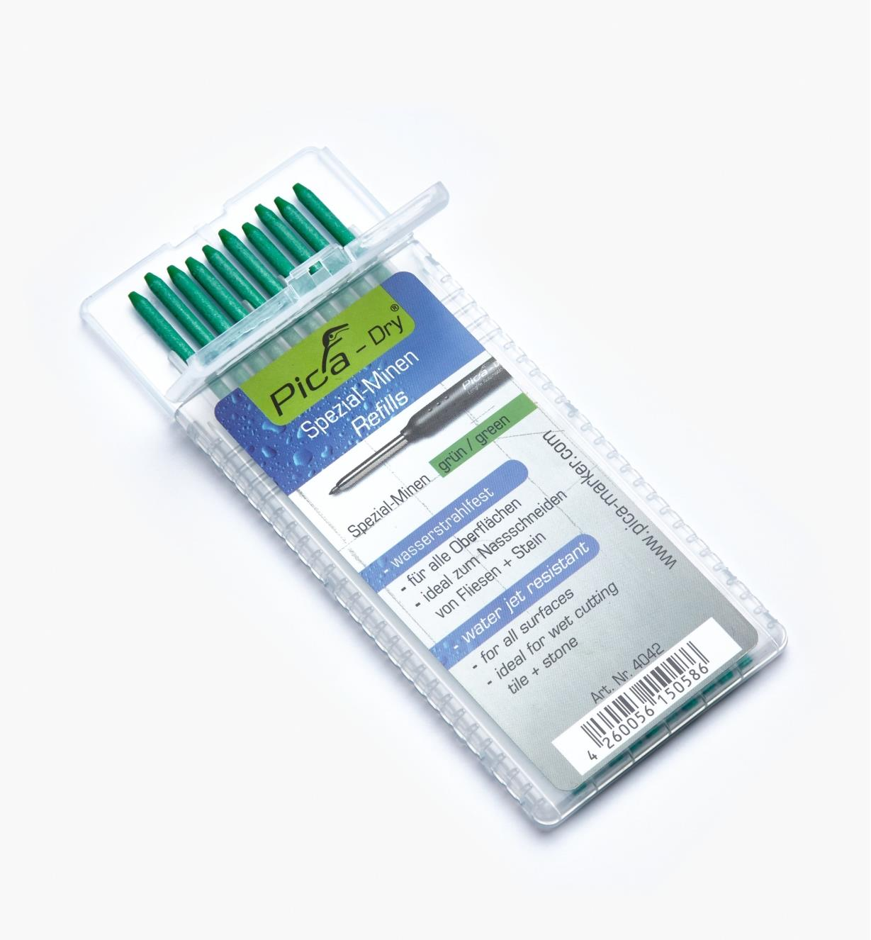 25K0422 - Pica-Dry Green Water-Resistant 2B Leads, pkg. of 10