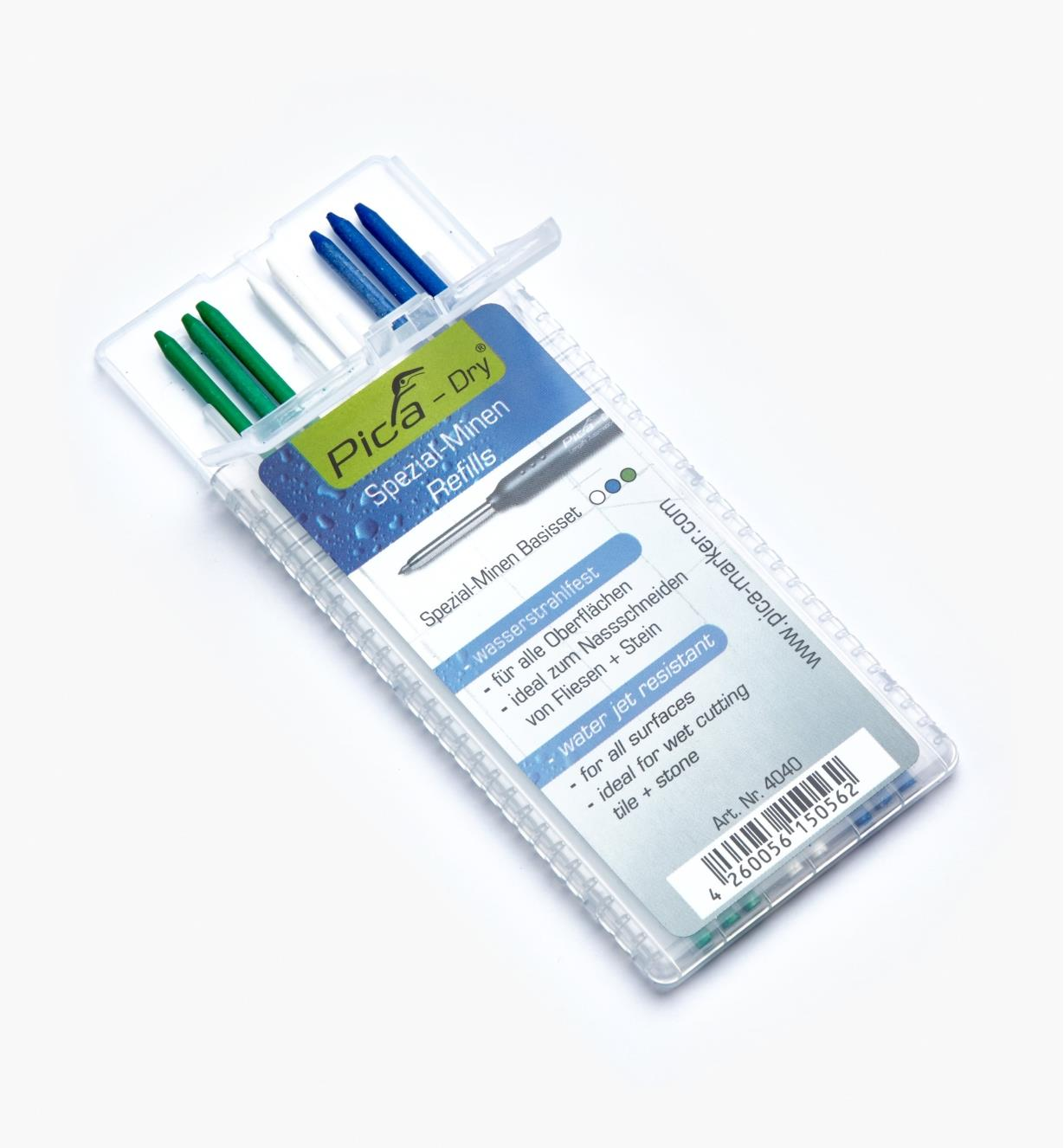 25K0425 - Set of 8 Pica-Dry Water-Resistant 2B Leads (3 Green, 2 White, 3 Blue)