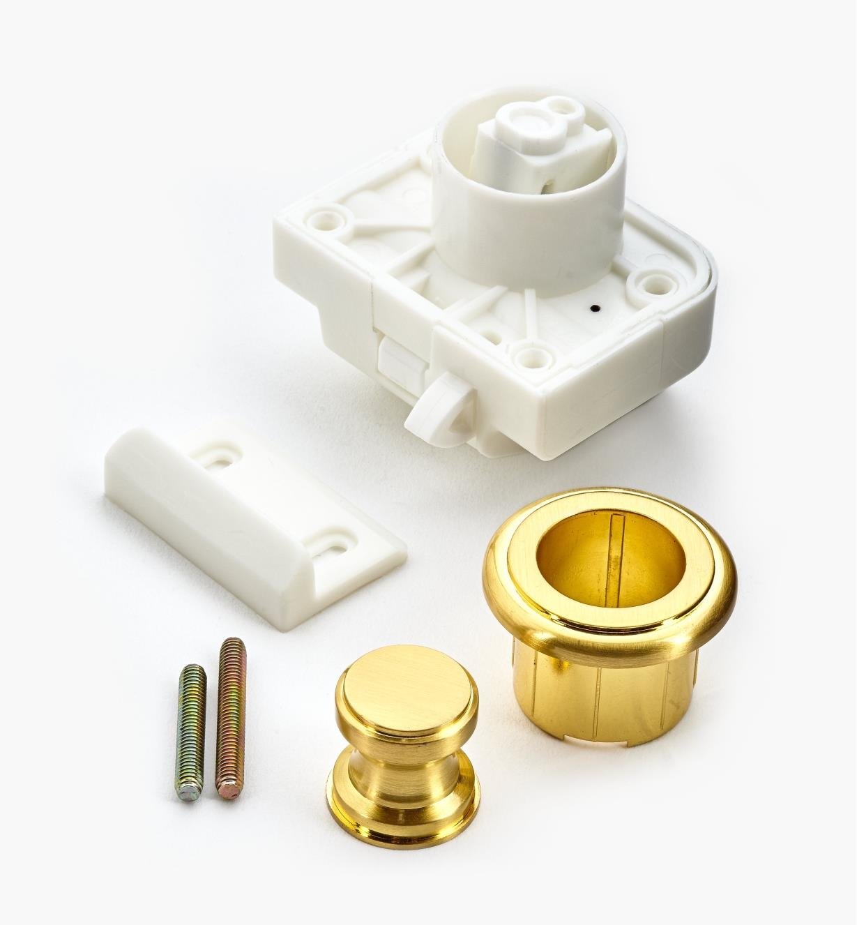00S3211 - Satin Brass Push Knob/Catch