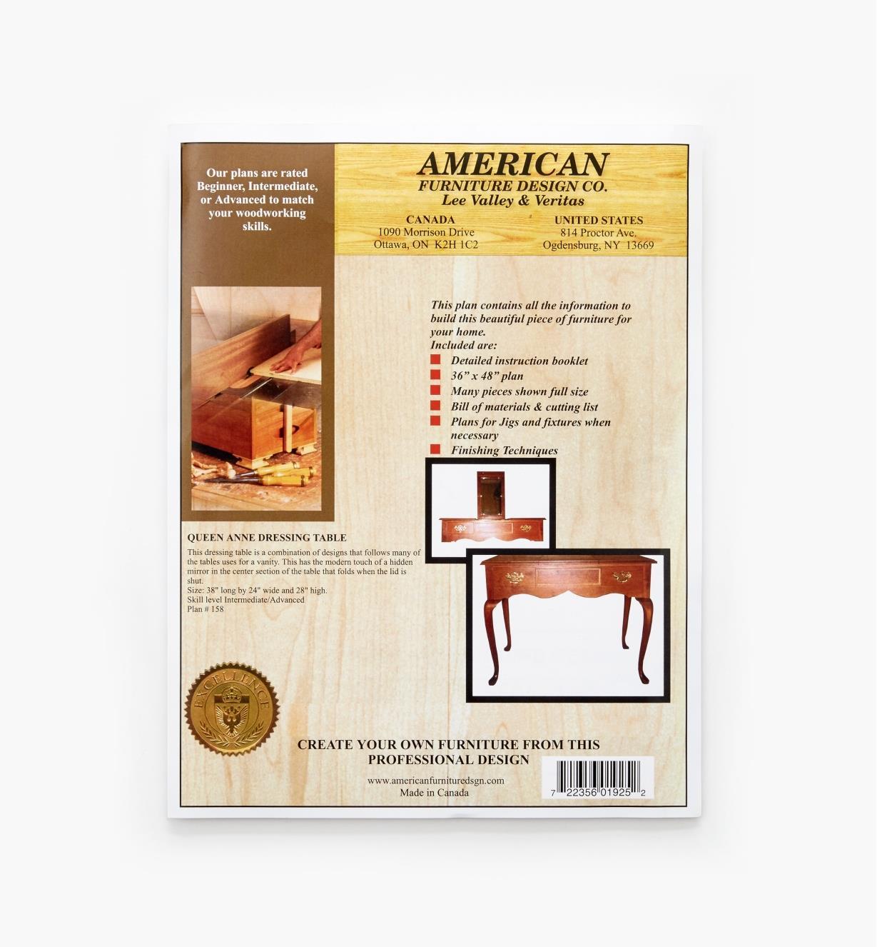 01L5063 - Queen Anne Dressing Table Plan