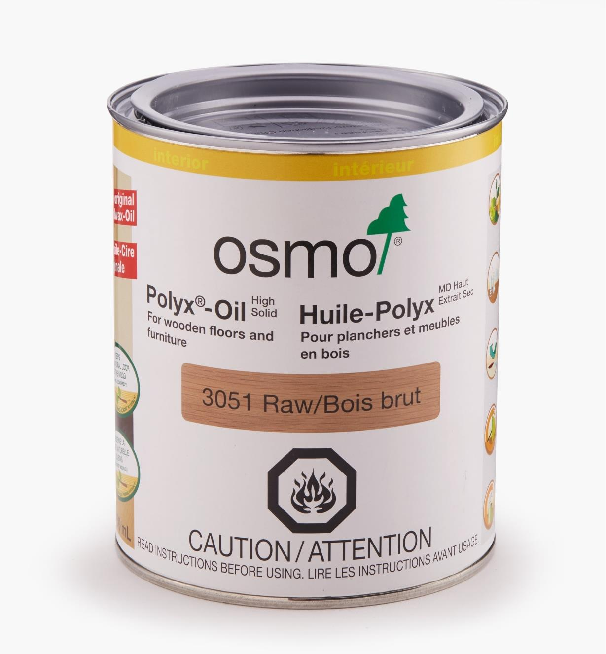 27K2733 - Osmo Polyx 3051 Satin Pigmented, 750ml (25.5 fl oz)