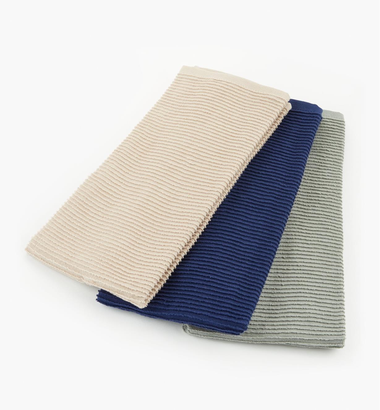 88K5858 - Set of 3 Ripple Towels (blue, gray, beige)