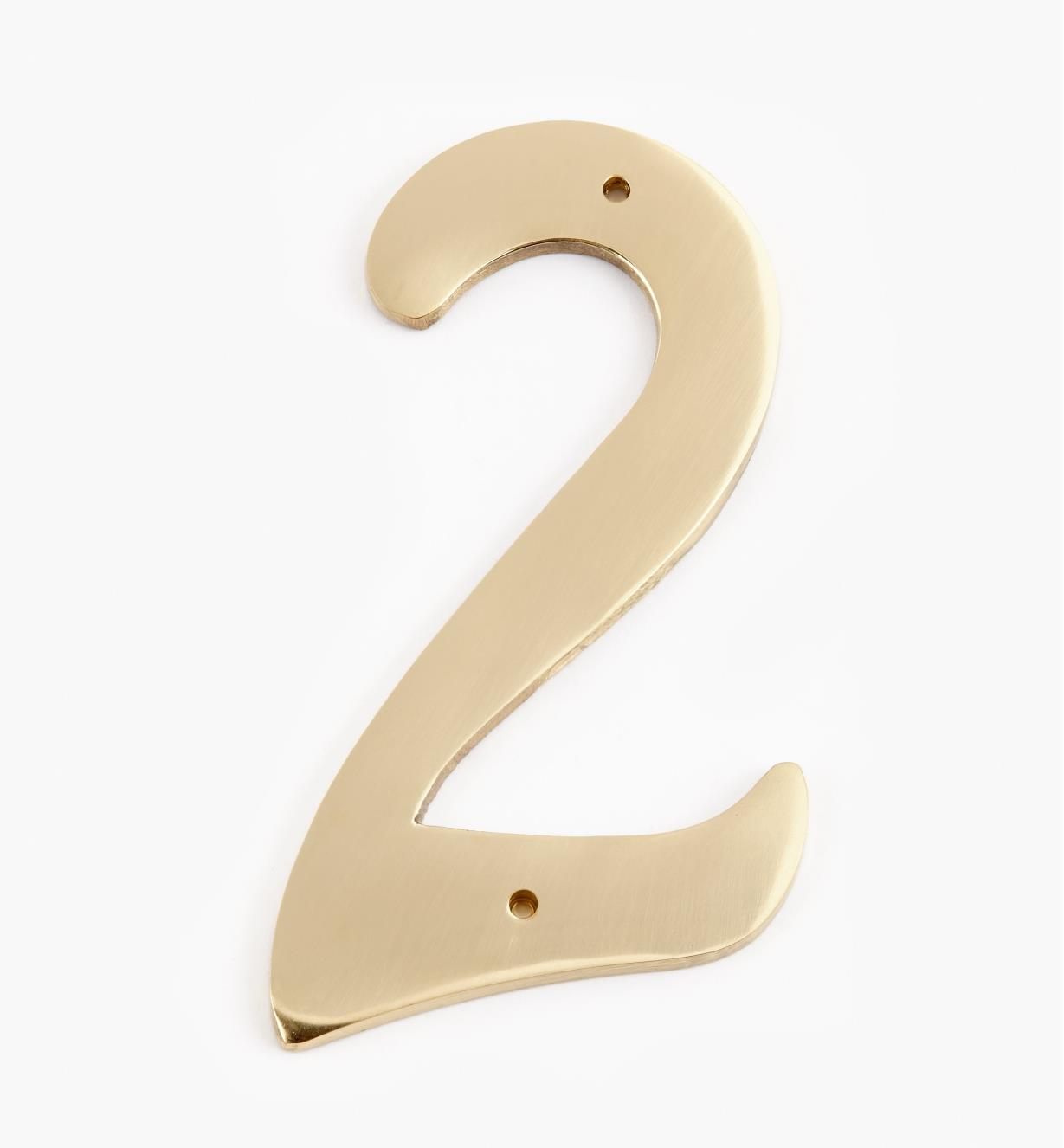 "00W0622 - 4"" Script Polished Brass Number - 2"