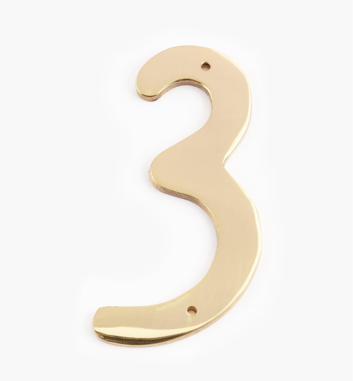 "00W0623 - 4"" Script Polished Brass Number - 3"