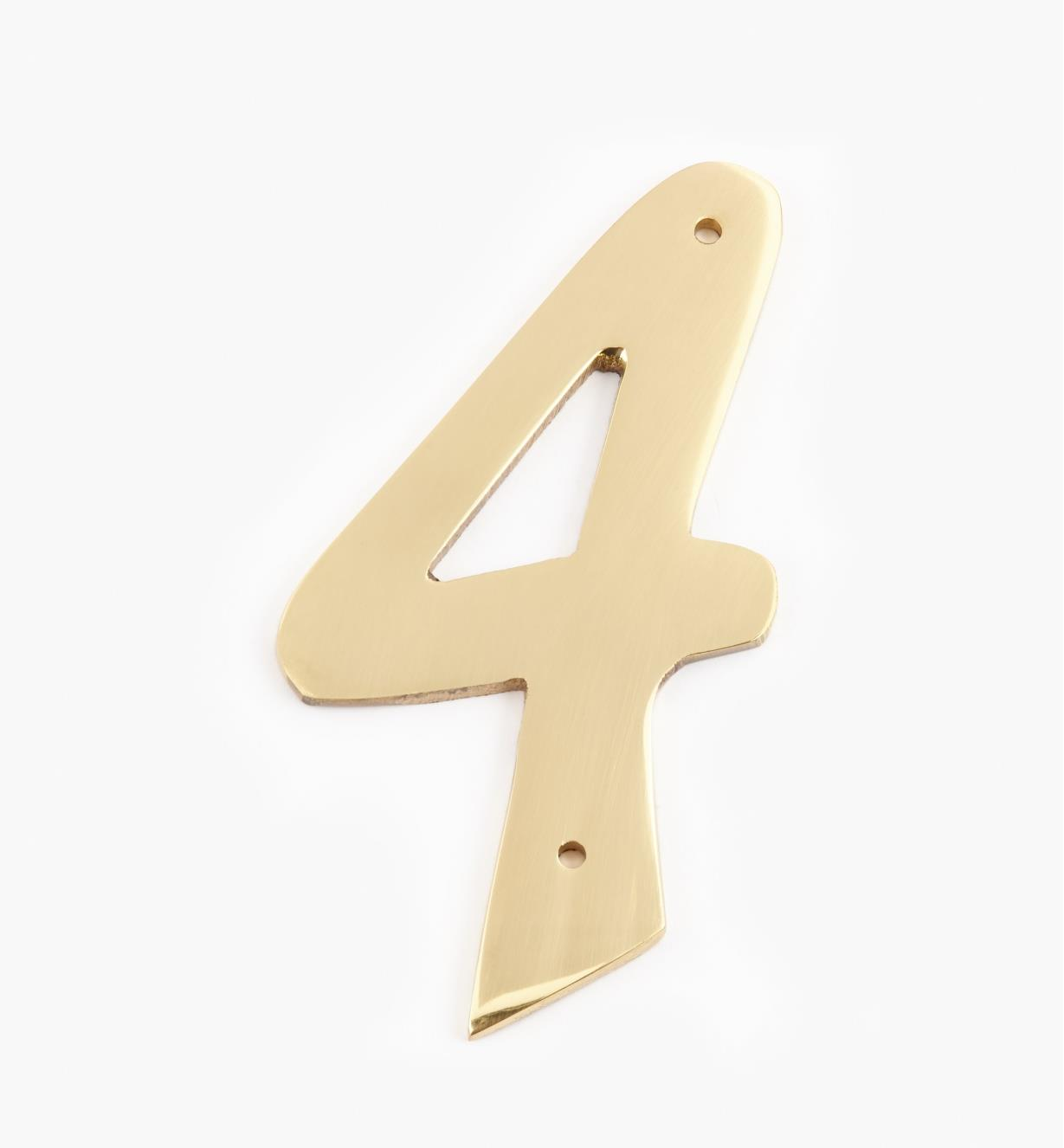 "00W0624 - 4"" Script Polished Brass Number - 4"