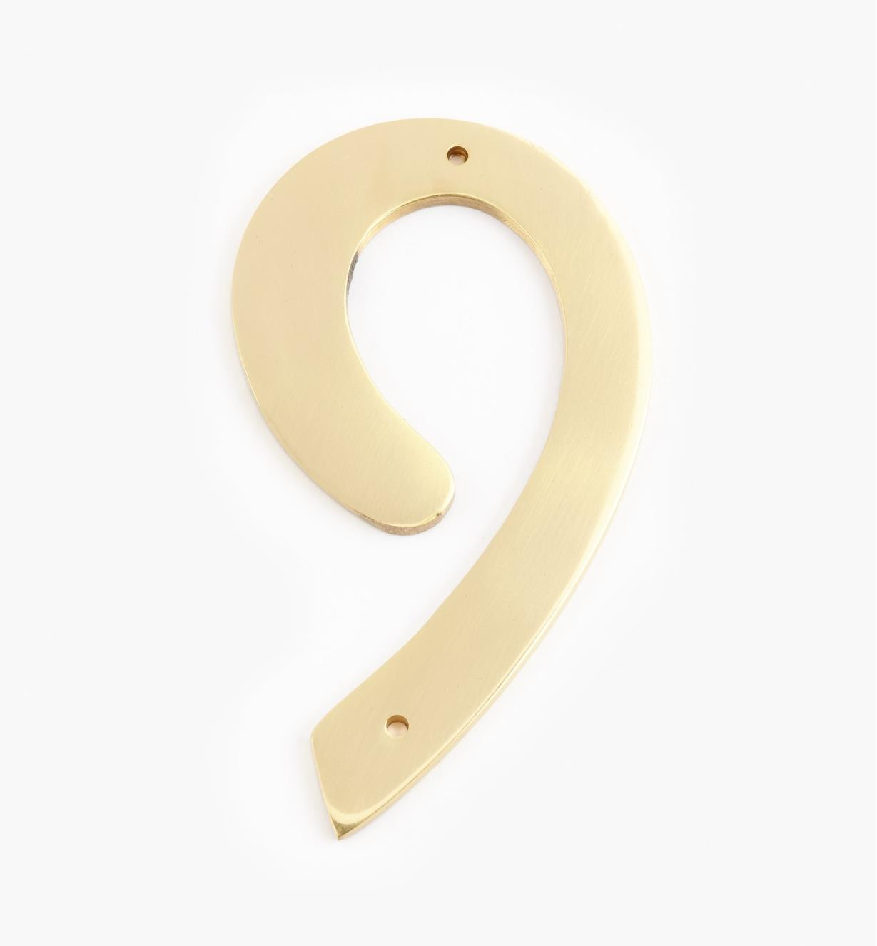 "00W0629 - 4"" Script Polished Brass Number - 9"