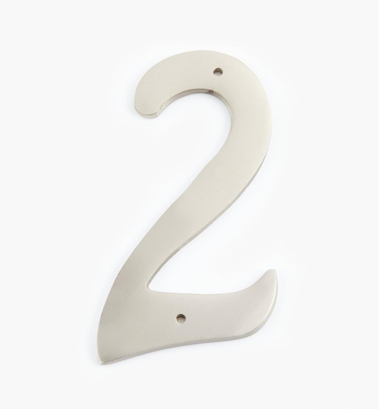"00W0632 - 4"" Script Satin Nickel Number - 2"