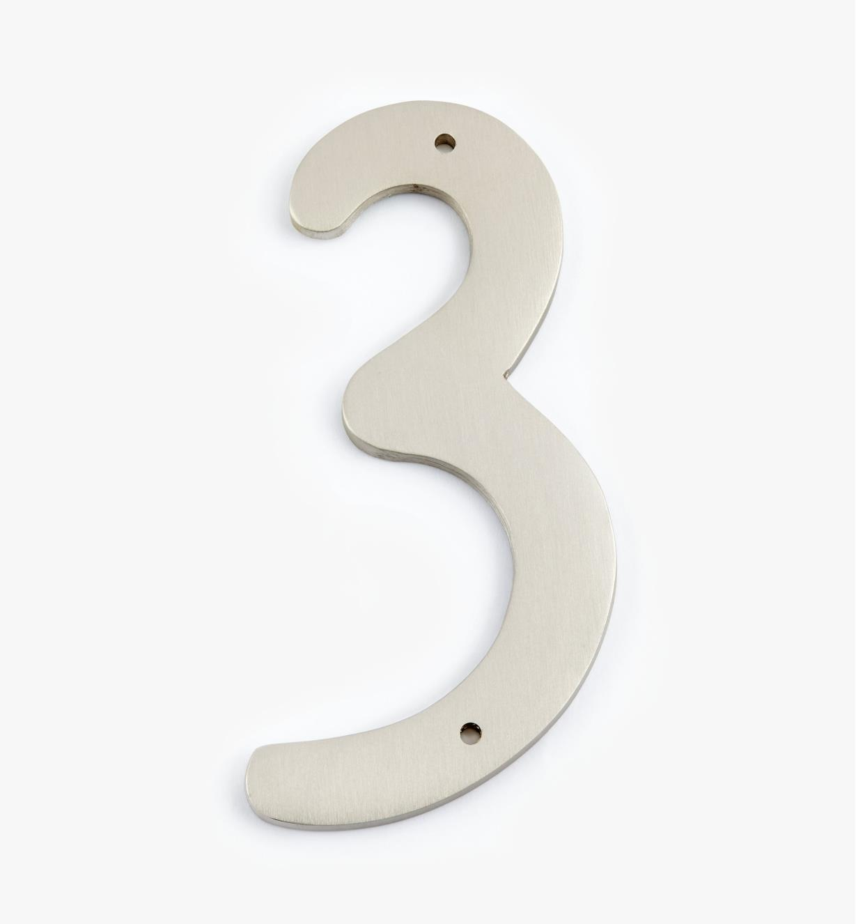 "00W0633 - 4"" Script Satin Nickel Number - 3"
