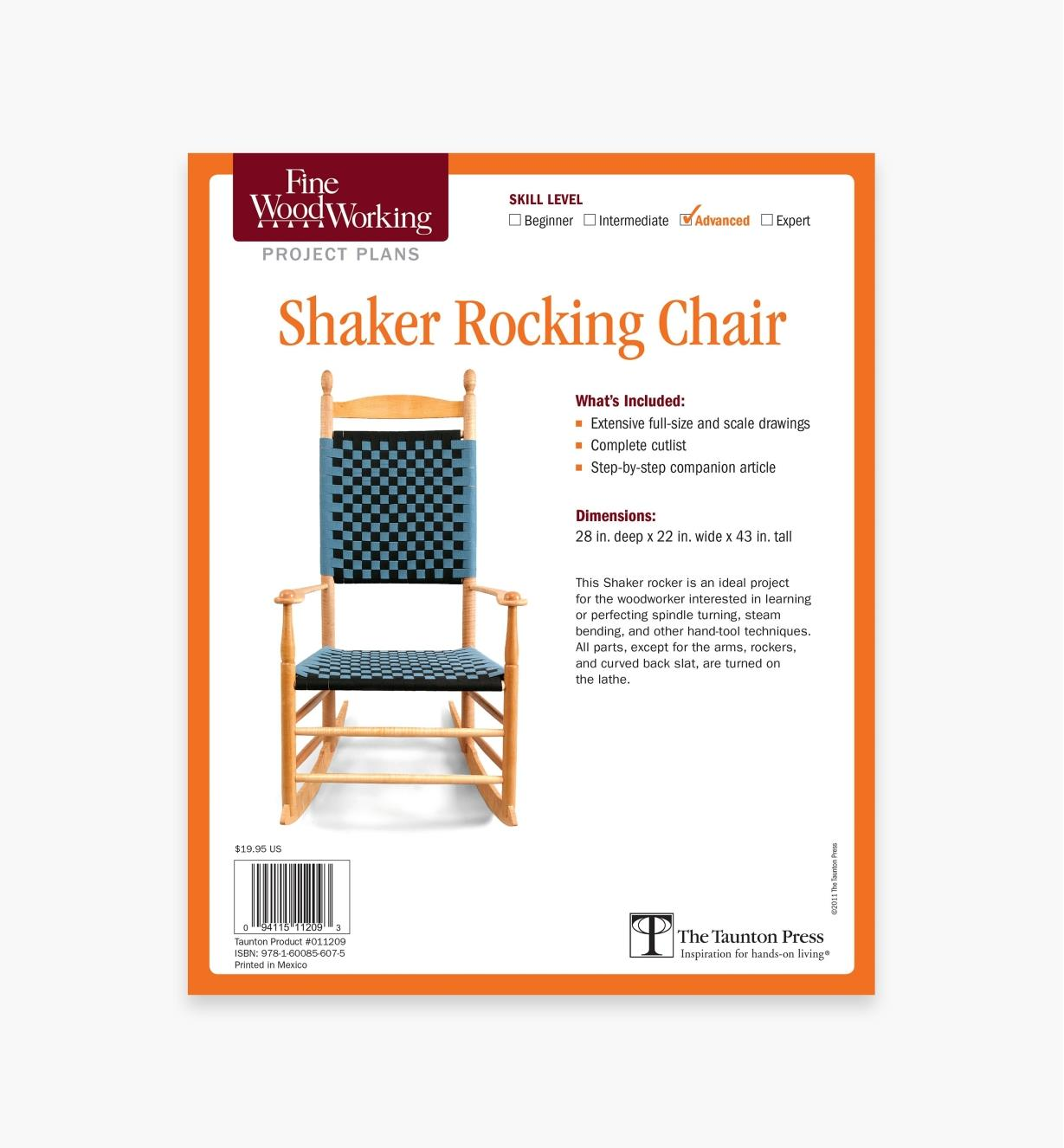 73L2536 - Shaker Rocking Chair Plan
