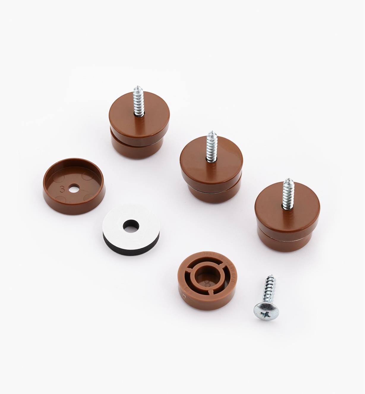93K8352 - Patins de 1po de diamètre, brun, le paquet de4