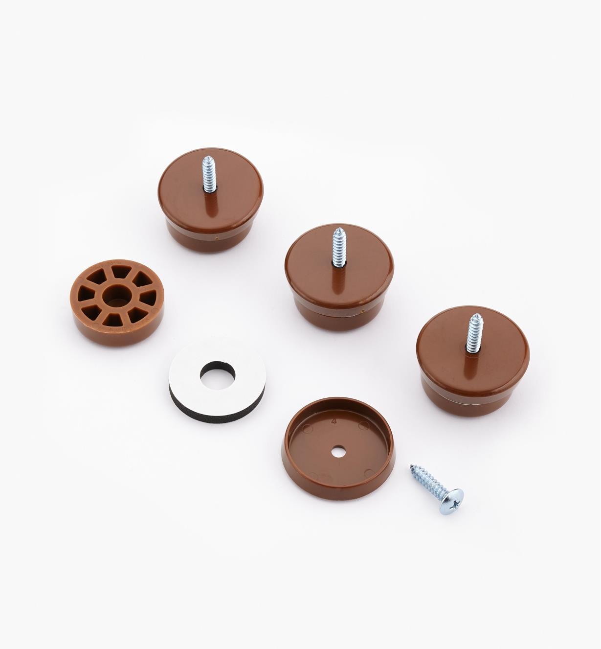 93K8353 - Patins de 11/4po de diamètre, brun, le paquet de4