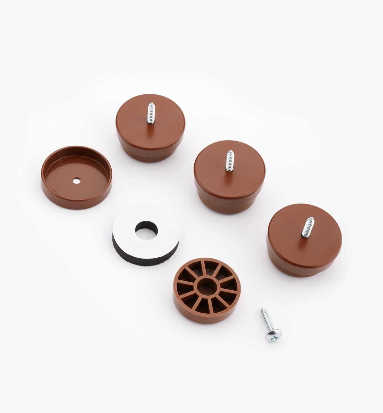 93K8354 - Patins de 11/2po de diamètre, brun, le paquet de4