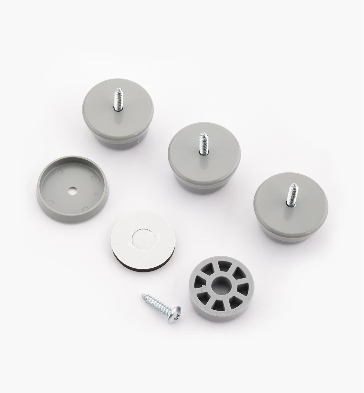 93K8363 - Patins de 11/4po de diamètre, gris, le paquet de4